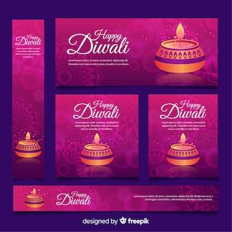 Colección de banners web de diwali con diseño plano