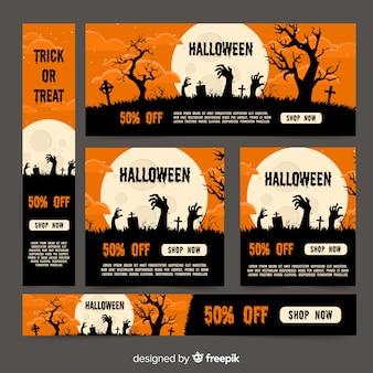 Colección de banners web de halloween con diseño plano