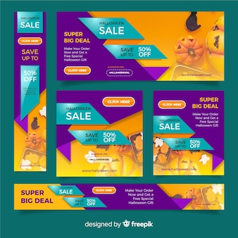 Colección de banners web de halloween con diseño realista