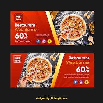 Colección de banners web de pizzerías con fotos