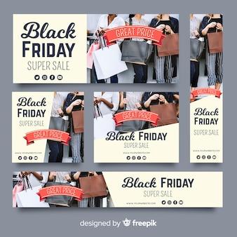 Colección de banners web de rebajas de black friday