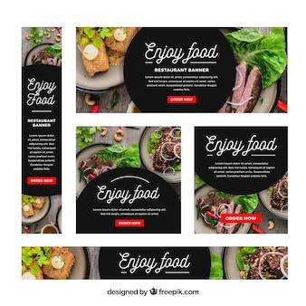 Colección de banners web de restaurante con foto