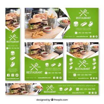 Colección de banners web de restaurante de hamburguesas con foto