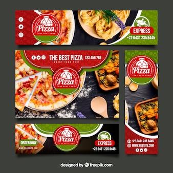 Colección de banners web de restaurante italiano con foto