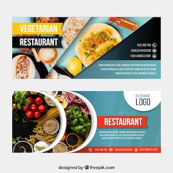 Colección de banners web de restaurante vegano con foto