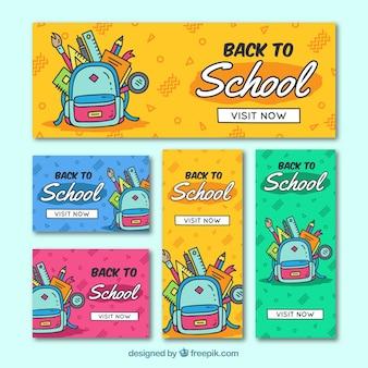 Colección de banners web de vuelta al colegio dibujados a mano