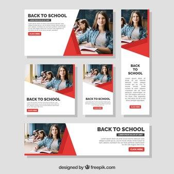 Colección de banners web de vuelta al colegio con foto