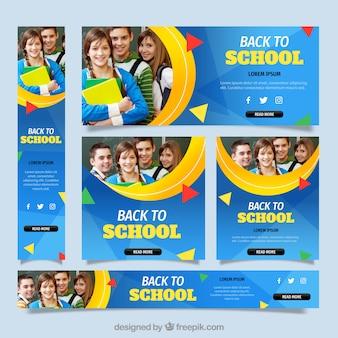 Colección de banners de web de vuelta al colegio con fotografía