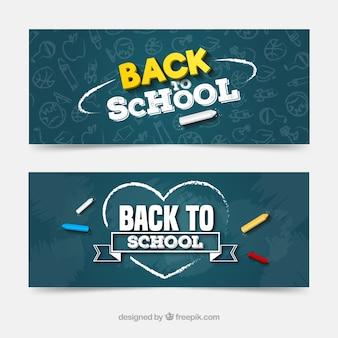 Colección de banners web de vuelta al colegio con pizarra