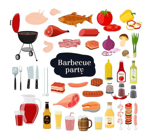 Colección de barbacoa: parrilla, tenedor, diferentes carnes, mariscos con verduras y bebidas.