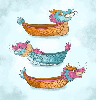 Colección barco dragón acuarela pintada a mano