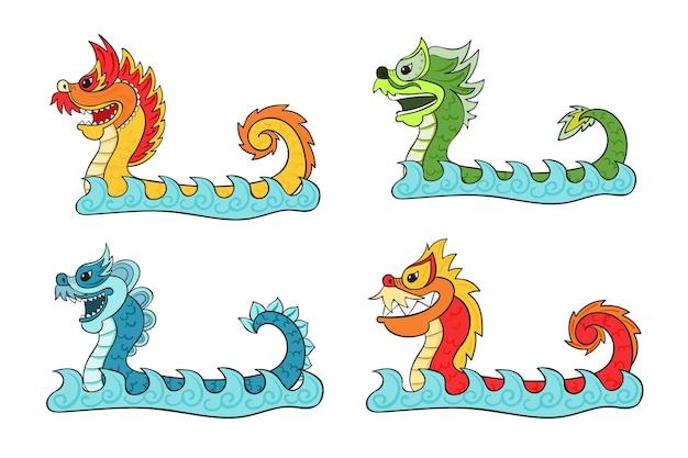 Colección barco dragón dibujado a mano
