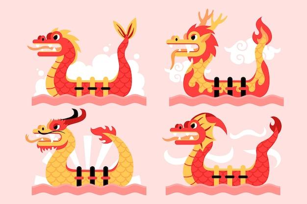Colección barco dragón plano