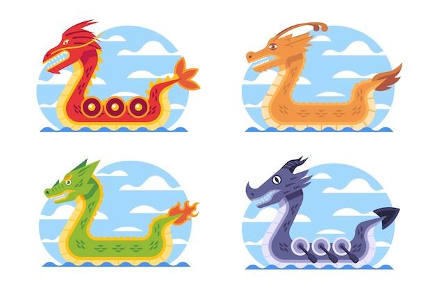 Colección barco dragón plano vector gratuito