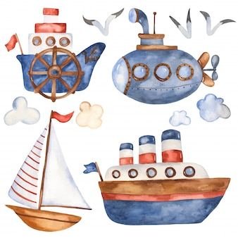 Colección de barcos de dibujos animados lindo