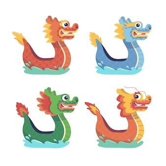 Colección de barcos dragón dibujados a mano