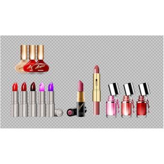 Colección de barra de labios y pinta uñas