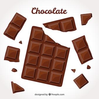 Colección de barras de barras y trozos de chocolate