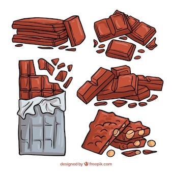 Colección de barras de chocolate dibujadas a mano