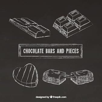 Colección de barras de chocolate en estilo pizzara