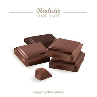 Colección de barras de chocolate en estilo realista