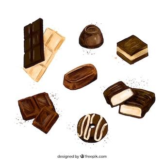 Colección de barras de chocolate realistas