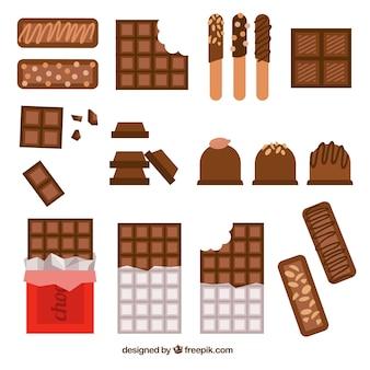 Colección de barras y trozos de chocolate con formas y sabores diferentes