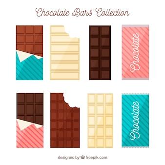 Colección de barras y trozos de chocolate