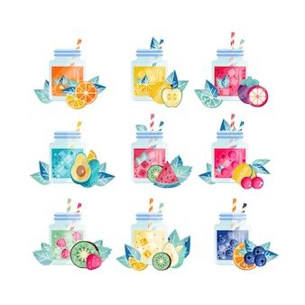 Colección de batidos de verano en frascos de vidrio.