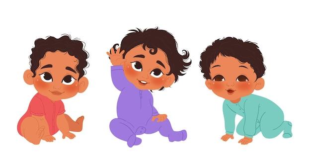 Colección bebe negro dibujado a mano