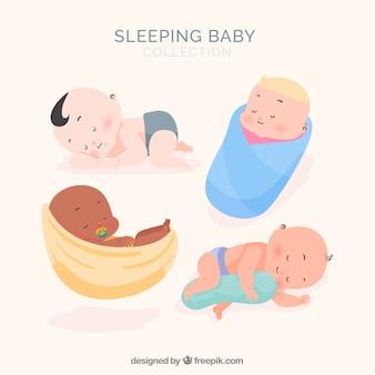 Colección de bebés durmiendo con diseño plano