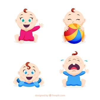 Colección de bebés en estilo plano