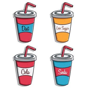 Colección de bebidas gaseosas tazas de papel con paja y texto