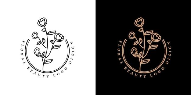 Colección de belleza femenina dibujada a mano y logo mínimo botánico floral