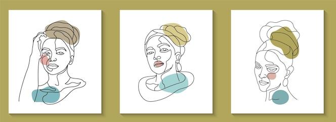 Colección de belleza mujer cara mínima línea dibujada a mano arte