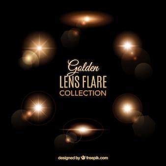 Colección de bengalas de lente en estilo dorado