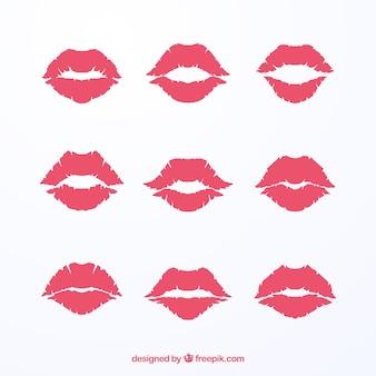 Colección de besos de lápiz labial en color rojo y rosa