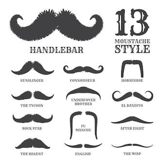 Colección de bigote silueta aislada con nombre de estilo
