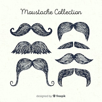 Colección de bigotes de movember dibujados a mano