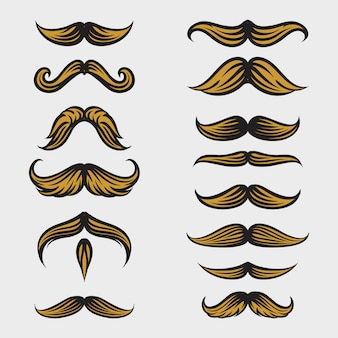 Colección de bigotes movember con estilo de dibujo a mano