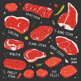 Colección de bistecs varios cortes de carne de res cruda