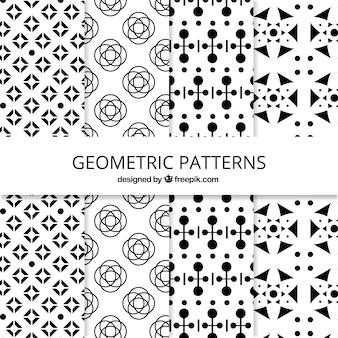 Colección en blanco y negro de patrones geométricos