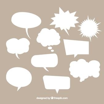 Colección de bocadillos de diálogo de cómic  de color blanco