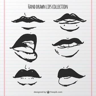 Colección de bocas dibujadas a mano