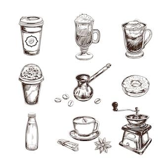 Colección de bocetos de café
