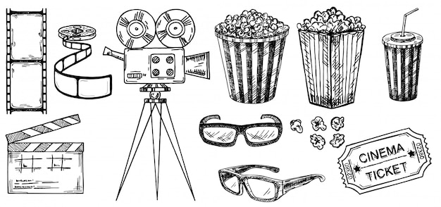 Colección de bocetos de cine. ilustraciones dibujadas a mano. elementos de cine y película en estilo boceto. para carteles, pancartas, volantes, publicidad, vallas publicitarias. gafas 3d, palomitas de maíz, entradas de cine