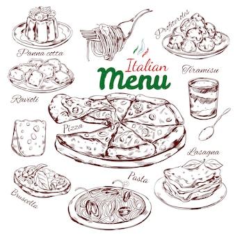 Colección de bocetos de comida italiana