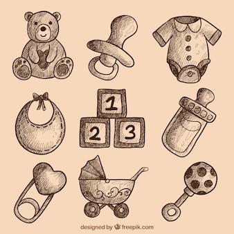 Colección de bocetos de elementos de bebé