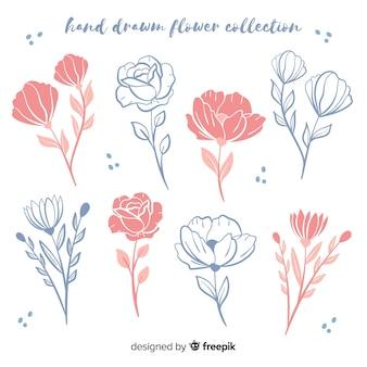 Colección bocetos de flores dibujados a mano