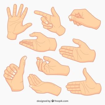 Colección de bocetos de manos
